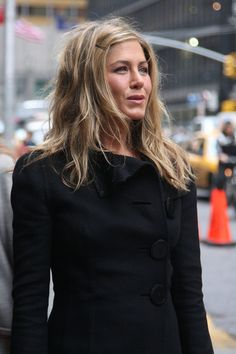 Jennifer Aniston Hair love this little bit of wave and the bobbie pin and the color