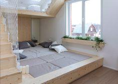 Ruetemple adds children's playhouse to Russian house Kids Bedroom, Master Bedroom, Interior Door Trim, Living Room Decor, Living Spaces, Childrens Playhouse, Sleeping Loft, Secret Rooms, Modern Bedroom Design