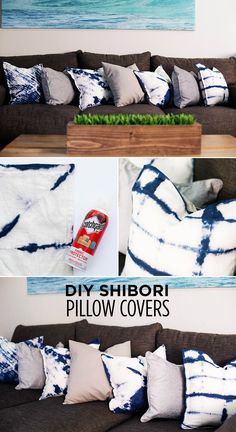 Make these DIY Shibori dyed pillow covers! They're an easy craft that will add a pop of color to any room! Be sure to protect the fabric as well. Diy Arts And Crafts, Easy Crafts, Diy Pillow Covers, Up House, Diy Interior, Shibori, Diy Home Decor, Diy Projects, Pillows