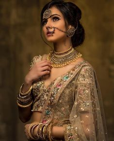 If you are a bride who wants to opt for a designer bridal lehenga for her wedding, then you can shop at ANHAD. Here you can get designer bridal dresses in any color and pattern which combination is perfect for you. Indian Dresses, Indian Outfits, Indian Wedding Dresses, Bridal Looks, Bridal Style, Indian Bridal Fashion, Indian Bridal Jewelry, Indian Bridal Hair, Asian Bridal