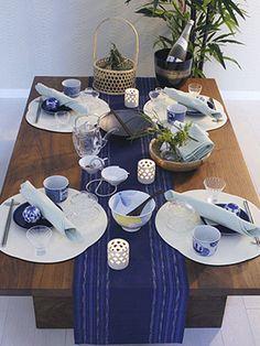 Blue Asian tablescape 和風のインテリアグリーン