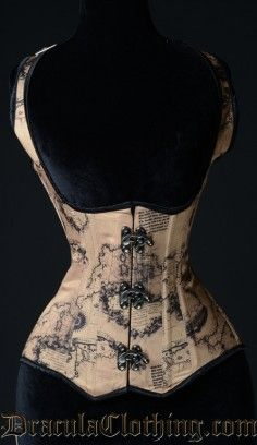 Map Shoulder Clasp Corset #corset #underbust #map #steampunk http://draculaclothing.com/index.php/map-shoulder-clasp-corset.html