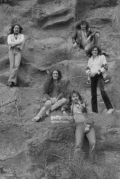 British rock group Uriah Heep, 1974. Clockwise, from top left: guitarist Mick Box, singer David Byron (1947 - 1985), bassist Gary Thain (1948 - 1975), drummer Lee Kerslake and guitarist Ken Hensley.
