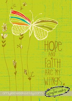 hope and faith are my wings Christian Gift Scripture art Flying Above Hope and by amyleeweeks, $10.00