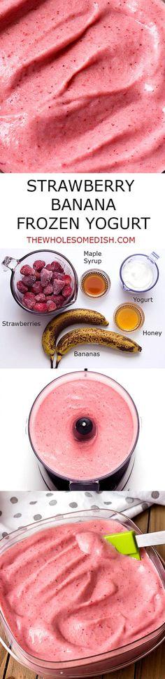 Strawberry Banana Frozen Yogurt - homemade with simple ingredients:  strawberries, bananas, yogurt, maple syrup, and honey. via @afinks