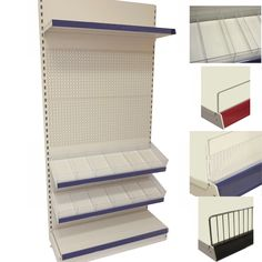 Freestanding wall shelving unit with easy clip on shelf risers and shelf dividers. Shelving and shelving accessories sold separately! Create the ideal shelf layout perfect for your retail display. Hundreds of shelving spare parts in stock - compatible with many 50mm pitch shelving systems including Tegometall shelving and Evolve shelving system.  #shelvingspares #shelves #shelfbrackets #shelfrisers #shelfdividers