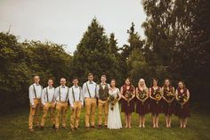 sunflower wedding Wedding Party In Yellow Trousers And Red Bridesmaids Dresses - Sunflower Wedding Bouquet Rustic Wedding With Wes Anderson Fantastic Mr Fox Theme With Bridesmaids In Red And Images by Alexa Penberthy Red Rose Wedding, Beach Wedding Flowers, Fall Wedding Bouquets, Flower Bouquet Wedding, Red Sunflower Wedding, Sunflower Weddings, Maroon Wedding, Cascade Bouquet, Wedding Suits