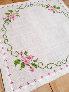 floral cross stitch embroidered tablecloth in linen from Sweden Lovely floral cross stitch embroidered tablecloth in linen Cross Stitch Heart, Cross Stitch Borders, Cross Stitch Flowers, Cross Stitch Kits, Cross Stitch Designs, Cross Stitch Embroidery, Embroidery Patterns, Hand Embroidery, Cross Stitch Patterns