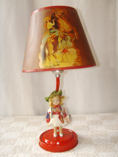 Leather and rawhide trim lamp shade western theme with hand vintage mid century western cowgirl lamp mozeypictures Gallery