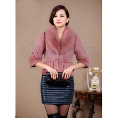 2013 Latest Fur Overcoat for Women on Hot Sale Now, Imported Rabbit Fur Overcoat with Fox Fur Collar Now at Amazing Price on Sale