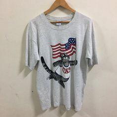 vtg B Kliban CAT Waving USA Flag t-shirt L 90s crazy funny hawaii    eBay