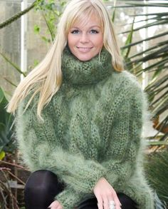 """supertanya-mohair-sweaters: """" (via https://www.youtube.com/watch?v=MDy7-Fc85VQ) SUPERTANYA ivory hand knitted fuzzy sweater top made to order """""""