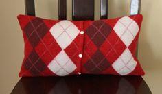 recycled cardigan #pillow #argyle #christmas