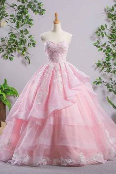 Sweetheart Pink A-line Lace Cheap Evening Dresses Prom Dresses-pgmdress