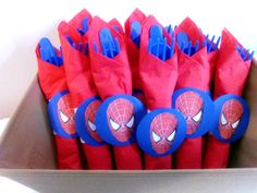 Spiderman Wrapped Utensils / Set of 10 by SofisPartyDecor on Etsy