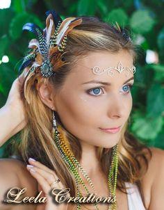 Tiara, diadem, head piece in silver and brass, Burning Man accessory, wedding, Pixie, Fairy jewelry by LeelaCreationsBali on Etsy