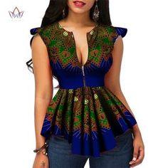 Modern Fashion Womens Tops Dashiki African Print Shirt Plus Size African Print Shirt, African Shirts, African Print Dresses, African Fashion Dresses, African Attire, African Wear, African Dress, Fashion Outfits, Womens Fashion