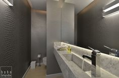 Banheiro com parede de textura de couro