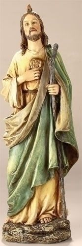 """St. Jude Statue 11356 $31.95  St. Jude statue resin/stone mix 10.5""""H x 3.75""""W x  2.75""""D. St. Jude, known as Thaddaeus, was a brother of St. James the Less, and a relative of Our Saviour. St. Jude was one of the 12 Apostles of Jesus."""