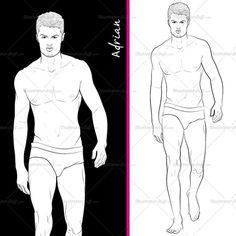 Male Runway Croquis Template: Adrian #fashionsketch #fashionillustration Fashion Illustration | ♦F&I♦