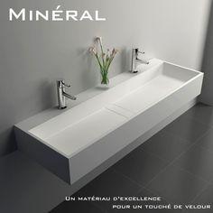 Plan vasque salle de bain suspendu 120x40 cm, matière composite, Mineral