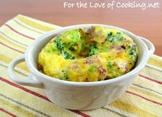 Mini baked frittata with broccoli, bacon and sharp cheddar