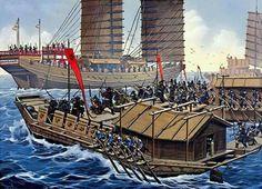 Batalla de Hansado,invasión japonesa de Corea en 1592,13 barcos tortugas y algunos panokseon se enfrentan a 133 barcos japoneses,hundiendo 66 por ningún barco Coreano hundido del almirante Yi Sun Sin