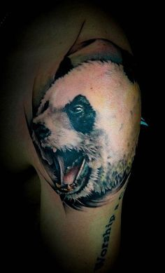 Agressive Panda Tattoo - http://99tattooideas.com/agressive-panda-tattoo/ #tattoo #tattooidea #tattoodesign