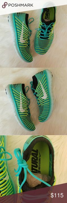 NWT NIKE Free Flyknit Neon Shoes! Brand new! These shoes are super cute and comfortable! The colors are awesome! I just have wayyy to many Nike's. Purchased at nike store. My loss is your gain! I believe I have the box. Nike Shoes Athletic Shoes