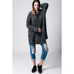 Dark gray Sweater Dress With Side Slit Fashion Brand, Fashion Online, Grey Sweater Dress, Autumn Fashion, Sweaters For Women, Normcore, Clothes For Women, Coat, Long Sleeve