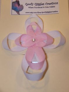 Ribbon Sculpture Cross Hair Clip by GoofyGigglesCreation on Etsy baptism favor embellishment Ribbon Hair Bows, Diy Hair Bows, Diy Ribbon, Bow Hair Clips, Ribbon Crafts, Ribbon Art, Ribbon Projects, Hair Bow Tutorial, Ribbon Sculpture