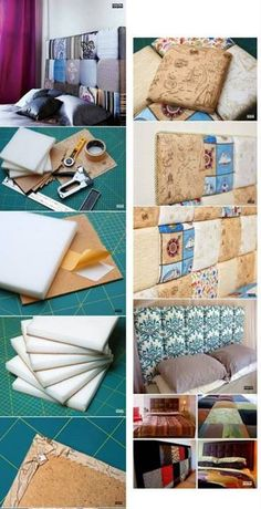 Taking Time To Create: Patchwork Headboard {Tutorial} Diy Tufted Headboard, Diy Headboards, Cheap Furniture Stores, Diy Furniture, Diy Home Crafts, Diy Home Decor, Diy Décoration, Diy Bed, Bedroom Decor