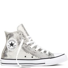 a85dbce9236d1 Chuck Taylor All Star Metallic Scaled Leather Argent Noir Blanc