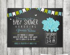 Chalkboard Gender Neutral Shower - Baby Shower Invitation - Mason Jar Invite - Printable 5x7 JPG