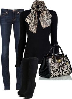 """""""Leopard Scarf"""" by sannroberts ❤ Melissa and I would look so cute in this outfit ! Mode Outfits, Night Outfits, Fashion Outfits, Womens Fashion, Fashion Boots, Fashion Ideas, Fashion Trends, Cute Winter Outfits, Fall Outfits"""