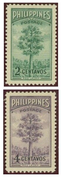 1950, APR 14 :Bureau of Forestry - 50th Anniversary; 2 & 4 Centavo - Singles, Sheets of 100.