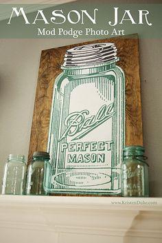 Mason Jar Mod Podge Photo Art with a blog hop of 10 creative bloggers sharing Mason Jar projects www.KristenDuke.com