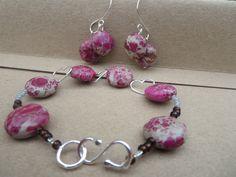 Handmade by Edinburgh Jewellery Designer, Gemstone Bracelet and Earrings, Handmade Bracelet Earrings Set, Designer Jasper Bracelet, Edinburgh Jewellery Designer by KBrownJewellery on Etsy