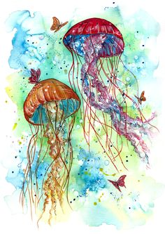 """One must explore deep and believe the incredible to find the new particles of truth floating in an ocean of insignificance"" Joseph Conrad.A whimsical piece portraying 2 Jellyfish in a charming underwater garden setting."