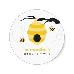 Bumble Bees Baby Shower Sticker
