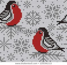 Winter snowy background with cute birds and snowflakes. Jumper Knitting Pattern, Knitting Charts, Knitting Stitches, Knitting Patterns, Cross Stitch Bird, Cross Stitch Designs, Cross Stitch Embroidery, Easy Knitting Projects, Knitting Designs