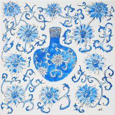 Blue Chinese Vase II by KateKennedyArt on Etsy, $50.00