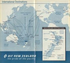 Air New Zealand Vintage Route Map