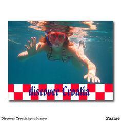 Discover Croatia, briefkaart voor  Kroatië,  Photo, tourism, Europe, Croatia, Croatian, Adriatic sea, Adriatic , Mediterranean, Istrie, Kvarner, Dalmatian, Dalmatia , Dalmatic , Dalmatië,  holiday, holidays, holiday, voyage, reizen, vakantie, Kroatie, postcard, postcards,  design. Ook verkrijgbaar ZONDER TEKST zodat je ze kan personaliseren, Doordat deze postkaarten neutraal zijn - ze vertonen beelden die eender waar kunnen genomen zijn- zijn ze bruikbaar voor heel Kroatië