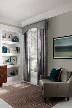 Sorenta Fabric Blinds with Cord Lift/Cord Tilt: Harmony, Mineral 0810. Drapery with pleated top: Declan, Sky 4340. Deco cornice: Declan, Sky 4340.