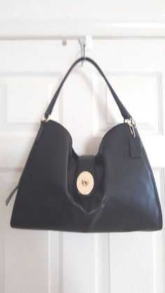 Coach Madison Carlyle F37637 Smooth Leather Black/Gold LG Shoulder Bag $450, NWT #Coach #ShoulderBag