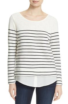SWEATER  BRETON TOP || Soft Joie Soft Joie 'Lakelyn' Stripe Cotton Layer Look Sweater available at #Nordstrom