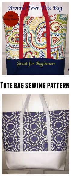 Easy to make tote bag that carries tons of stuff. Handbag Patterns, Bag Patterns To Sew, Tote Pattern, Sewing Patterns, Sewing Basics, Sewing Hacks, Sewing Projects, Beginners Sewing, Sewing Lessons