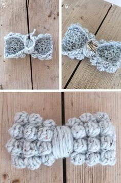 Free Crochet Pattern - Chunky Bobble Bows by Lululoves Crochet Bow Pattern, Crochet Diy, Chunky Crochet, Easy Crochet Patterns, Love Crochet, Crochet Gifts, Crochet Flowers, Crochet Stitches, Bobble Crochet