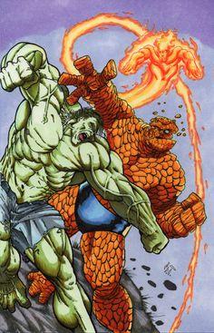 #Hulk #Fan #Art. (Hulk vs. Thing) By: MJTannacore. (THE * 5 * STÅR * ÅWARD * OF: * AW YEAH, IT'S MAJOR ÅWESOMENESS!!!™)..............